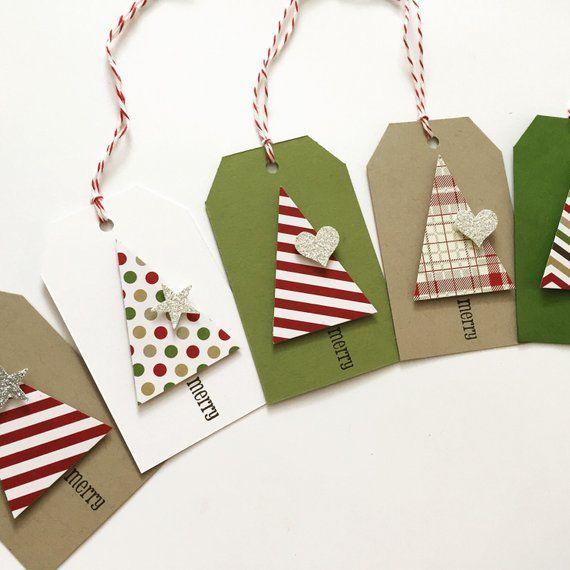 Christmas Gift Tags – Christmas Tree – dimensional sparkle gift tags – gift tags – 10 tags