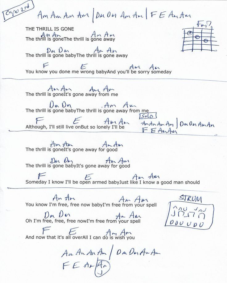 The Thrill Is Gone (BB King) Guitar Chord Chart - Capo 2nd Fret