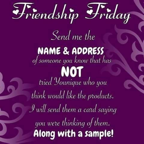 Friendship Friday Send A Younique Sample To A Friend Who Hasn T Tried Younique Yet Www
