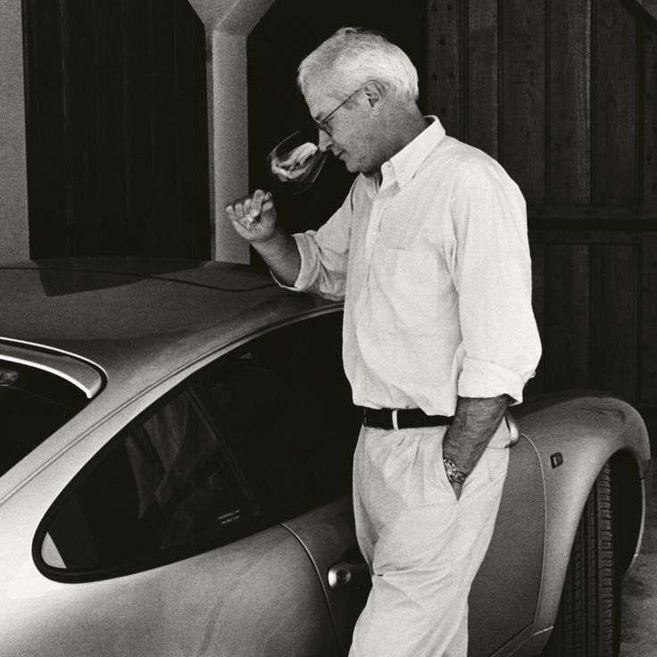 Alberto di Gresy with two of his loves – a glass of Barbaresco and a fast car.