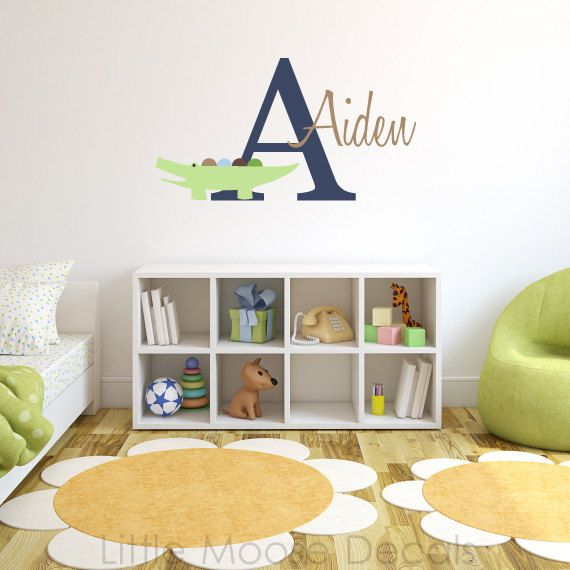 Children Wall Decal Baby Name Monogram Vinyl - Nursery Decals Letter Alligator Crocodile. $37.00, via Etsy.
