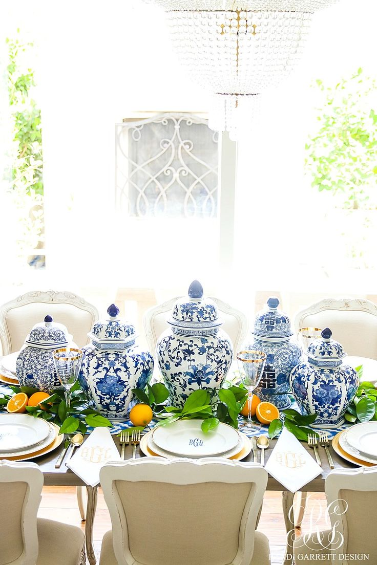 3 Sentimental Gift Ideas for Mother's Day & How to Set a Blue and White Table Just for her - using ginger jars, fresh citrus, monogrammed plates and napkins