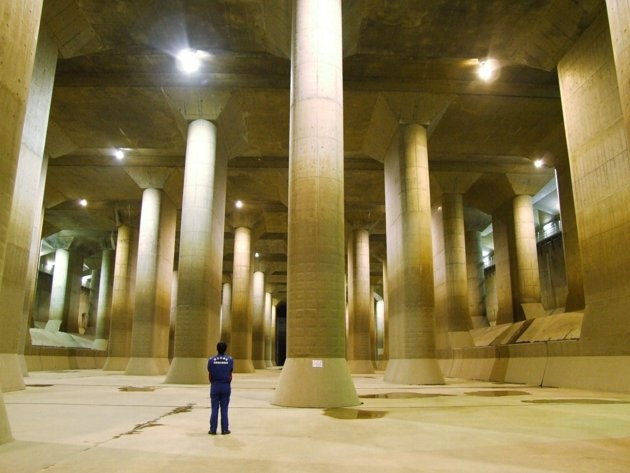 Tokyo's gigantic flood prevention system: The Metropolitan Area Outer Underground Discharge Channel is a subterranean water infrastructure project built to protect the capital Tokyo against floodwaters during rain and typhoon seasons. Damn.