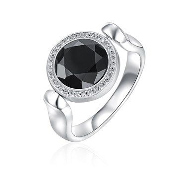 RING KAGI DAY TO NIGHT FLIP RHODIUM PLATED STERLING SILVER 10MM ROUND FACETED CLEAR AND BLACK SYNTHETIC CRYSTAL SIZE T1/2 - Jons Family Jewellers