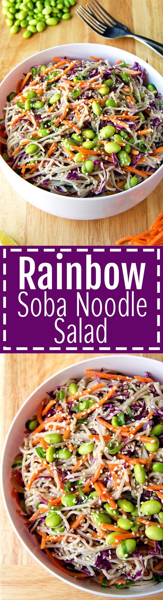 Rainbow Soba Noodle Salad – Colorful veggies and chewy soba noodles all tossed together with a flavorful sesame garlic and lime dressing. It's super easy and can be made ahead of time too! (Vegan & GF) | RECIPE at NomingthruLife.com