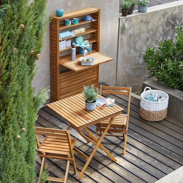 Foldable oiled acacia balcony table FSC La Redoute Interieurs