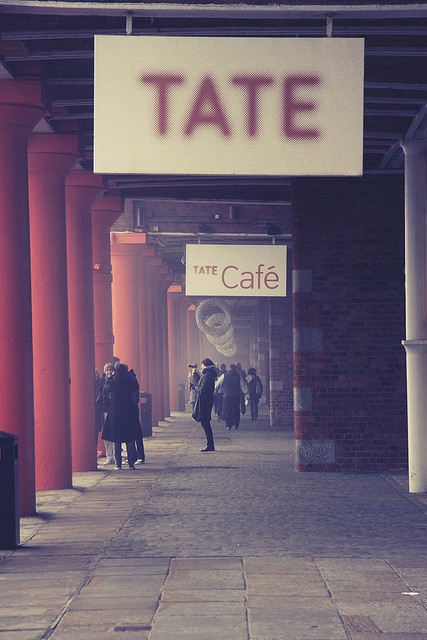 A marvelous museum of modern/contemporary art, The Tate Gallery/Liverpool, built within the structure of the old Albert Docks in Liverpool, here creating a kind of cloisters. Excellent re-purposing of existing architectural space.