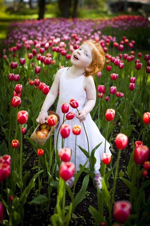 Kids spring picture ideas.  Little girl standing in a field of tulip flowers
