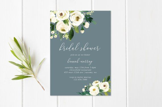 Printable Or Printed Watercolor White Floral And Greenery Bridal