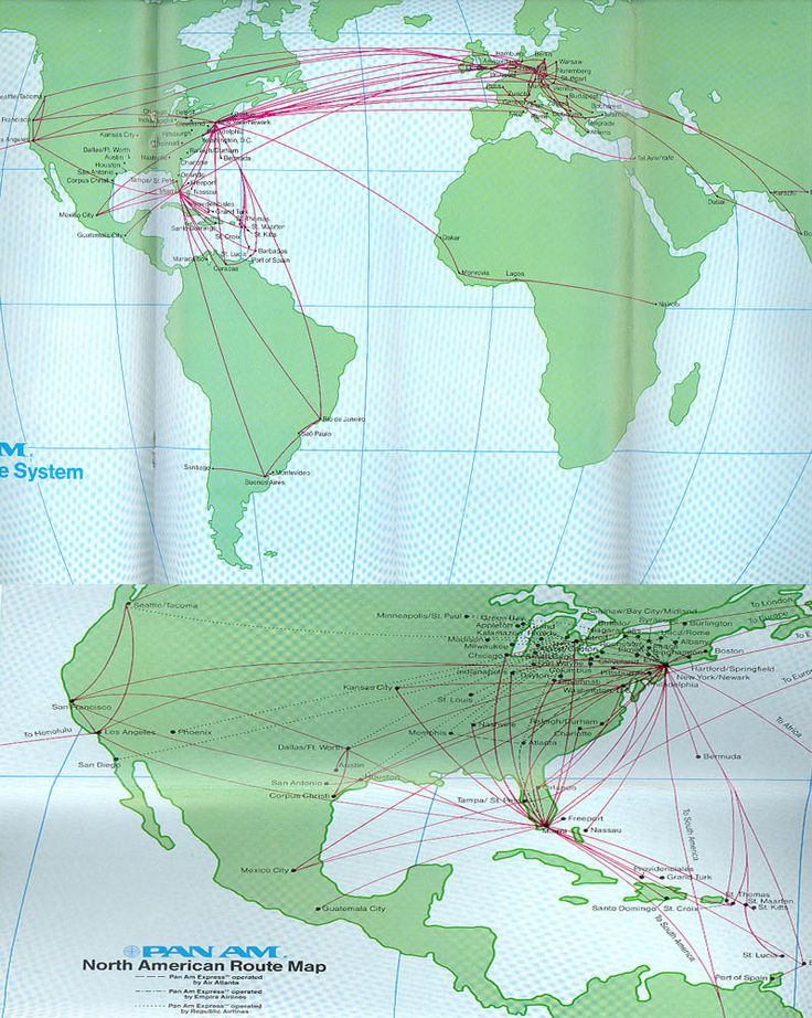 ... route maps pan am airlines timetables route maps and history
