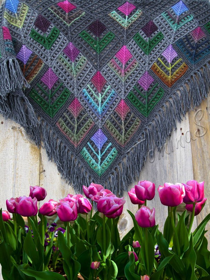 "Warm wrap, handmade knitted scarf, wool shawl, winter knits, fashion shawl, ""Dutch tulips"" by TominasName on Etsy"