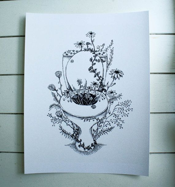 Flowery Toilet, original art print