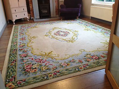 Beautiful Huge Shabby Chic 9 X 12 French Wool Rug Vintage Antique Fl