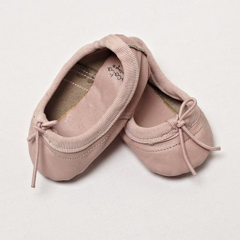 Baby girl ballerina leather shoes pink leather Tocoto