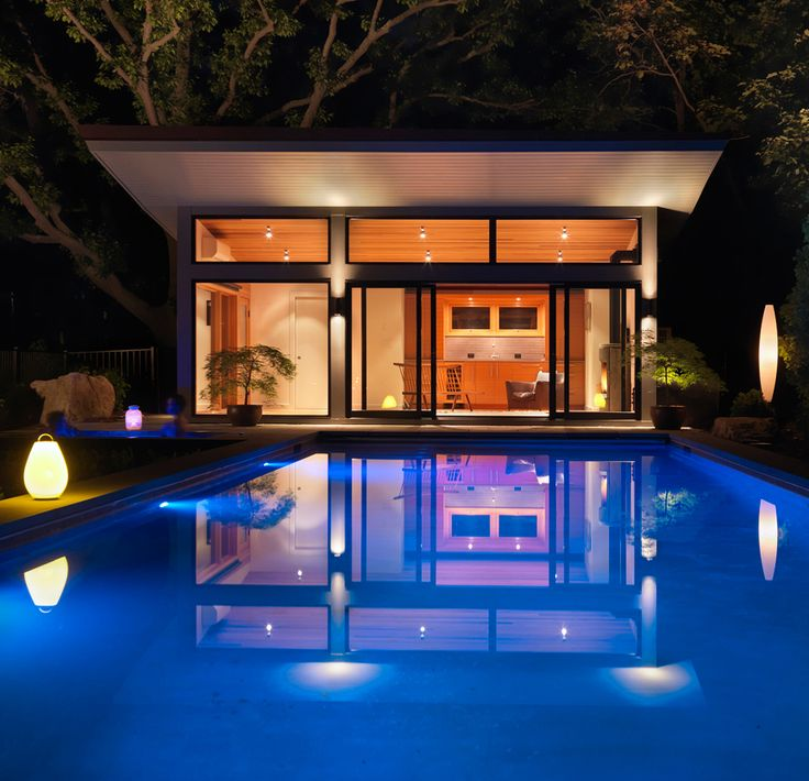 Exterior view of modern pool house with