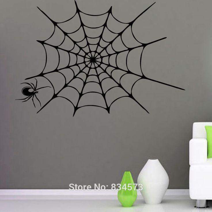 artist stickalztitle spider and web vinyl sticker wall artproduct type vinyl wall art - Halloween Wall Mural