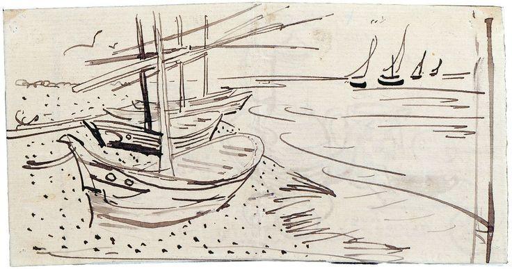 Рыбацкие лодки на пляже в Сен-Мари | Sailing Boats, 1888