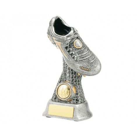 Soccer Boot On Net Resin Trophy  Height: 260mm  Ideal for a team award, player of the match.  Custom Engraving available  Insert a Standard Soccer or Custom Acyrlic Button with your logo or badge on the award.  Please contact us for an engraving quote  Email your enquiry to presentations@olympia.com.au Please include the wording and any Logos or crests to obtain an accurate quote.