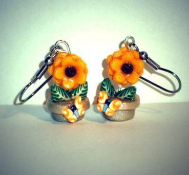 Ohrringe Sonnenblume Fimo handgefertigt Ohrschmuck Modeschmuck Hänger Neuware