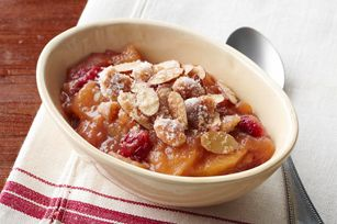 Crockpot Apple Crisp - 1  pkg. (3.4 oz.) JELL-O Vanilla Flavor Instant Pudding  1/2  cup sugar, divided  1  tsp. ground cinnamon  10   Granny Smith apples (3 lb.), peeled, sliced  1  cup fresh or frozen cranberries  6  Tbsp. butter, melted, divided  12   NILLA Wafers, coarsely chopped  1/4  cup PLANTERS Sliced Almonds