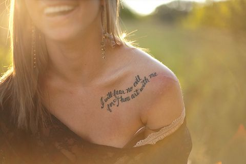 """"""" I shall fear no evil for Thou art with me"""" <3: Tattoo Placements, Tattoo Ideas, Quotes, Body Art, Fonts Style, A Tattoo, Shoulder Tattoo, The Waves, Curves"""
