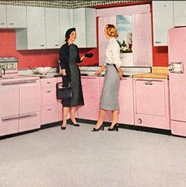 Vintage 1950s kitchen > click to see 60 Years of Kitchen Design History!