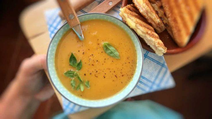 BOIL Spiced Carrot Pumpkin Soup with Ham Sandwiches