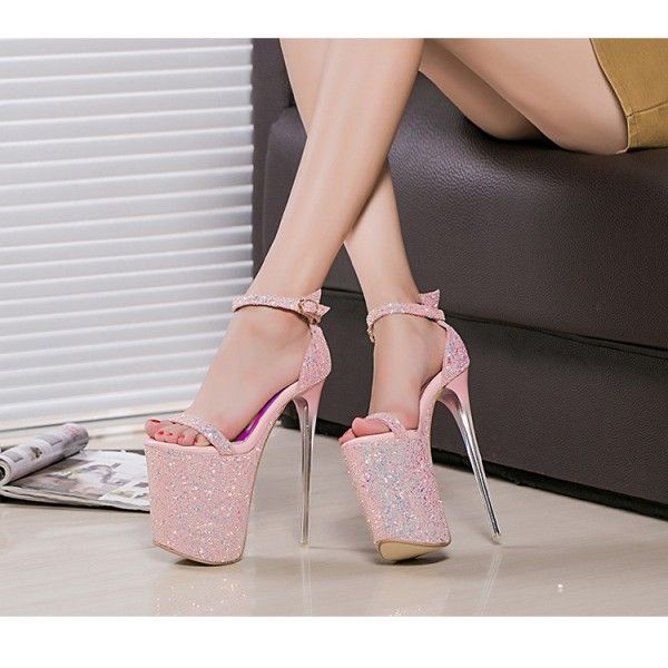 Women's Pink Glitter Super Stiletto Heel Stripper Heels for Party, Night club, Dancing club FSJ Design