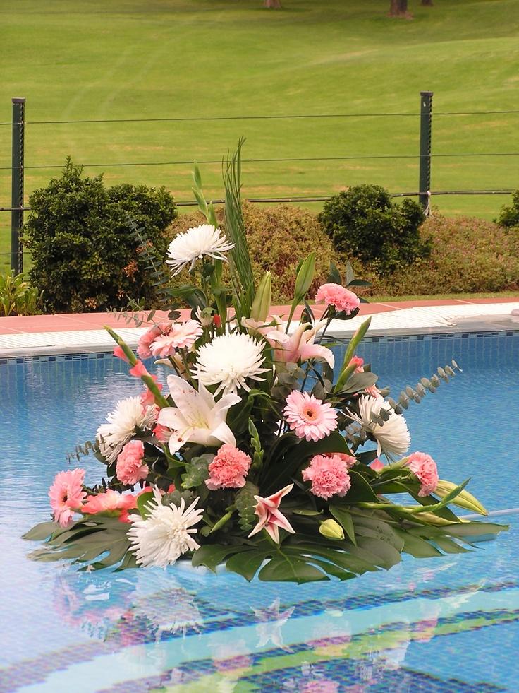Pool flowers, Hotel Tamisa Golf, Mijas Costa - Spain. In the background Mijas Golf.