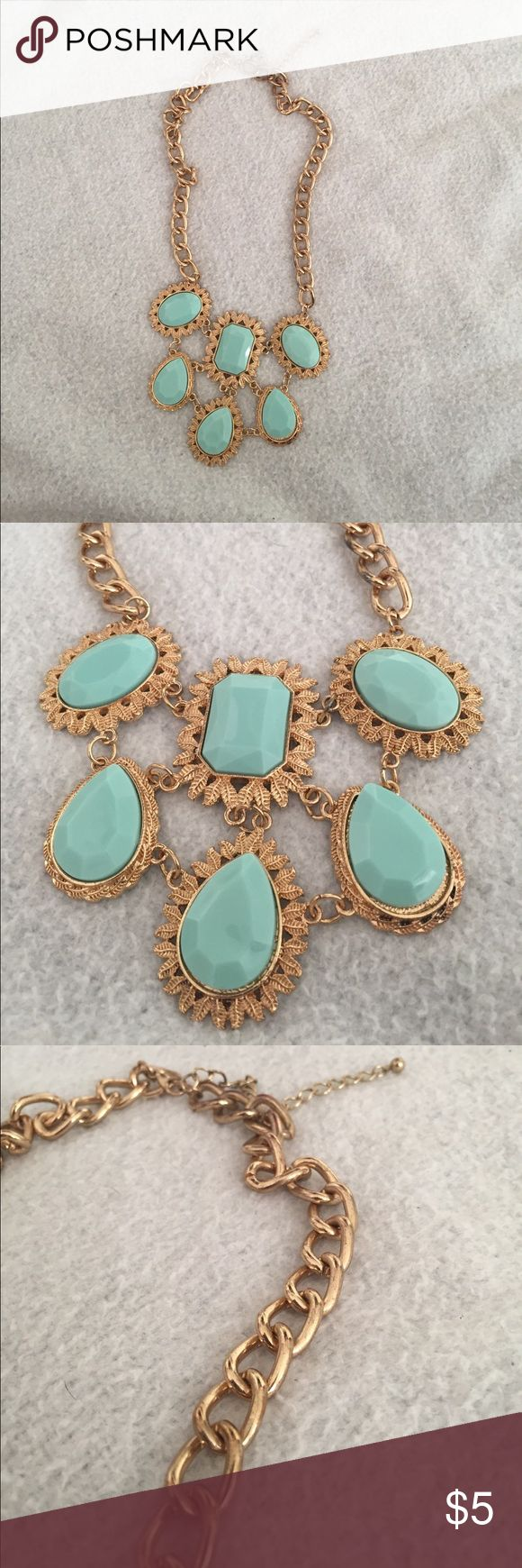 Mint Green Statement Necklace This is a lightly worn mint green gemstone shaped statement necklace. Jewelry Necklaces