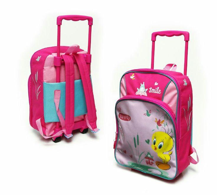 Mochila pre escolar tweety,  diseño estampado, liviana, ideal para la etapa pre escolar, con carro para transportarla, de tela polyester.