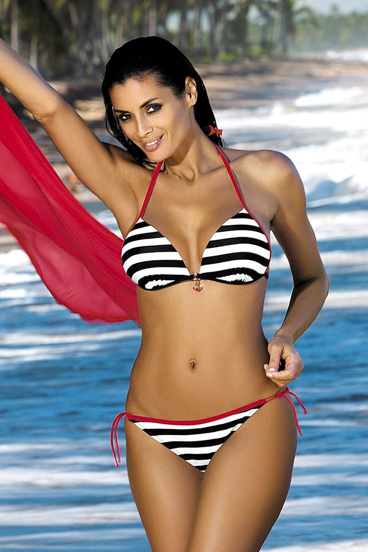 Sensual Movement Black Swimsuit, horizontal stripes, back fastening and adjustable tie neck bra, push-up bra