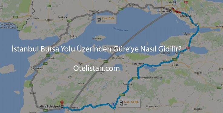 İstanbul Bursa Yolu Üzerinden Güre'ye Nasıl Gidilir?  İstanbul - Bursa yolu üzerinden Güre'ye kendi aracınızla gitmeyi tercih ettiyseniz İstanbul'dan Bursa'ya en kısa Yalova üzerinden geçebilirsiniz. Yalova'ya geçmek için deniz otobüsü veya Osmangazi Köprüsü`nü tercih edilebilir. Yol güzergahı İstanbul - Yalova - Bursa - Balıkesir - Edremit - Akçay ve Güre. Bu güzergâhı takip ettiğinizde 487 km yol kat ederek Güre'ye ulaşabilirsiniz.