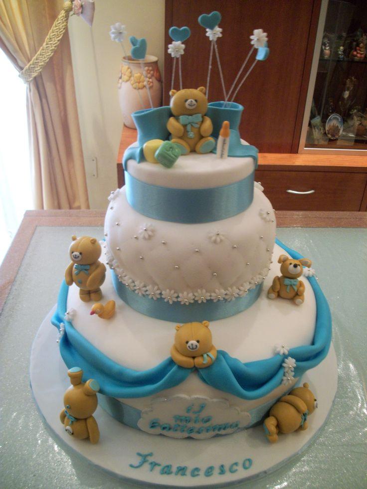 Torta in pasta di zucchero battesimo torte compleanno maria pinterest pasta - Decorazioni battesimo bimbo ...