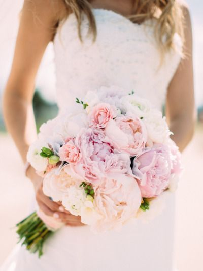 Photo: Cluney Photo via Style Me Pretty; Beautiful Bountiful Wedding Bouquets with Peonies - Cluney Photo via Style Me Pretty