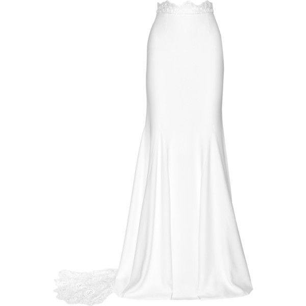 Rime Arodaky Pennington lace-paneled crepe maxi skirt (22,955 CNY) ❤ liked on Polyvore featuring skirts, bottoms, saias, white, long skirts, button skirt, floor length skirt, bridal skirt and white maxi skirt