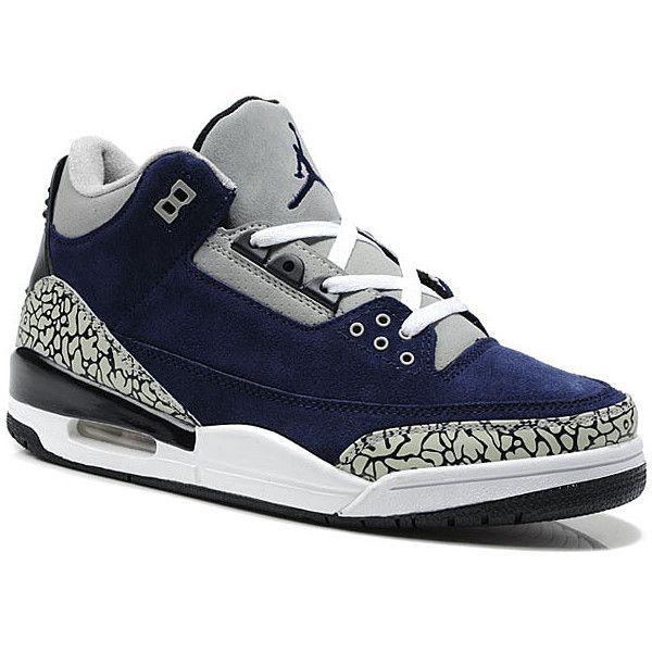 Air Jordan 3(III) Suede Navy Blue/White Cement ($185) ❤