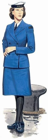 Ordinary Rating, Women's Royal Canadian Naval Service, 1942-1946  A member of the Women's Royal Canadian Naval Service, which was formed in 1942 and attracted some 4,300 volunteers. The elegant sky-blue summer uniform pictured here distinguished the Canadians from the British and Americans, who wore white. The dark-blue winter uniform was identical to that worn by female members of the British Royal Navy. Reconstruction by Ron Volstad. Pin by Paolo Marzioli