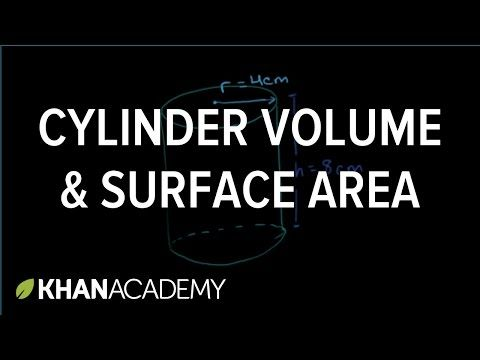 A cylinder's volume is π r² h, and its surface area is 2π r h + 2π r². Learn how to use these formulas to solve an example problem.