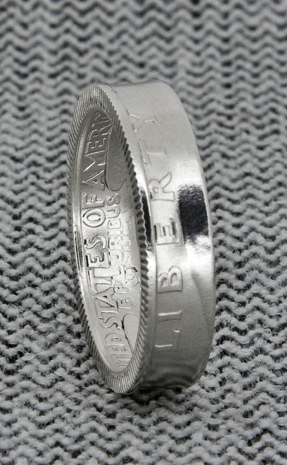 1940-1949 90% Silver Washington Quarter Dollar Double Sided Coin Ring Silver Wedding Band Size 3-13 1941 1942 1943 1944 1945 1946 1947 1948