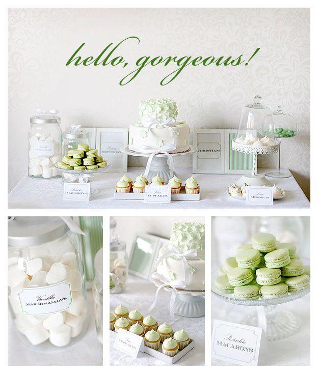 green white dessert table