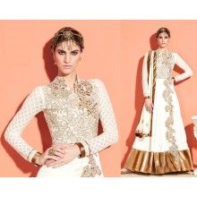 Classic White Pishwa Anarkali - with golden contrast ! #trendz2014