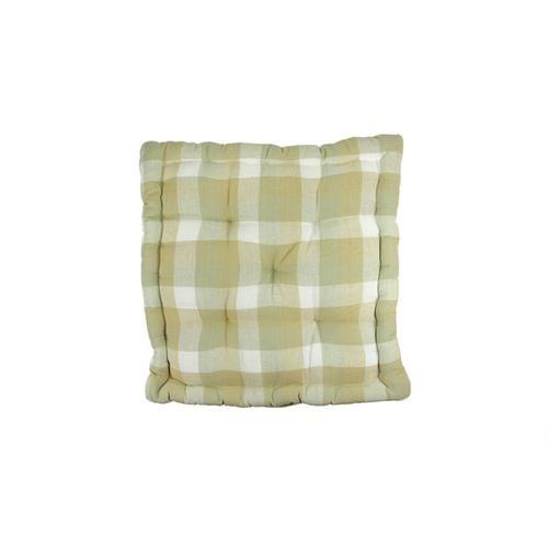 """15"""""""" Tea Garden Khaki White and Beige Plaid Reversible Chair Cushion"""
