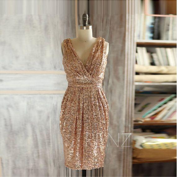 2015 Short Rose Gold Bridesmaid dress, Sheath V neck Luxury Sequin Evening dress, Metallic Sparkle Wedding dress Knee length (TQ150D)-RENZ