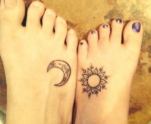 sol y luna tatuaje mejores amigas - Buscar con Google