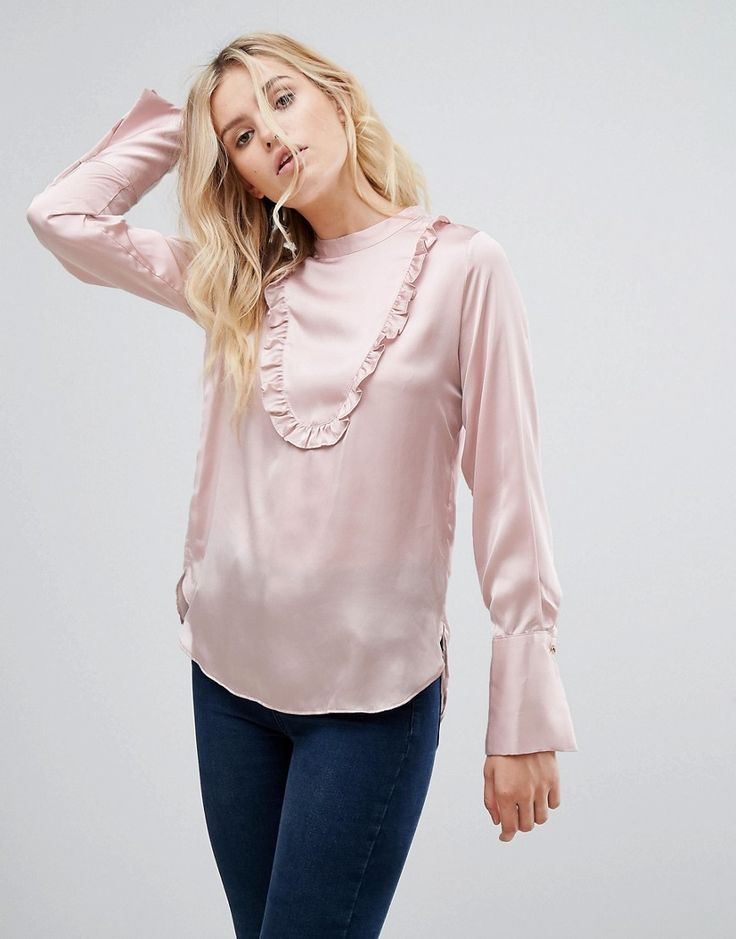 Pepe Jeans Gold Label Dusk Sateen Ruffle Blouse - Pink