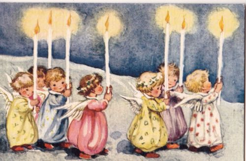 Darling VTG 1942 Brownie Christmas Card~7 Sweet Angels w/Candles~Erica Von Kager