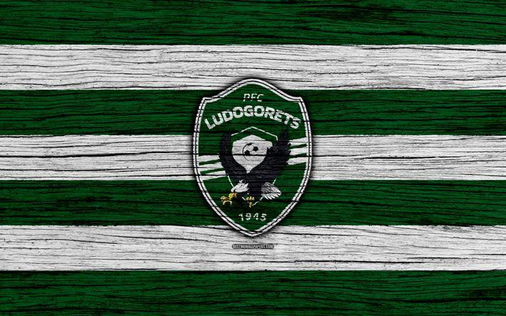 Download wallpapers Ludogorets FC, 4k, Parva Liga, soccer, football, Bulgaria, PFC Ludogorets, logo, wooden texture, football club, FC Ludogorets