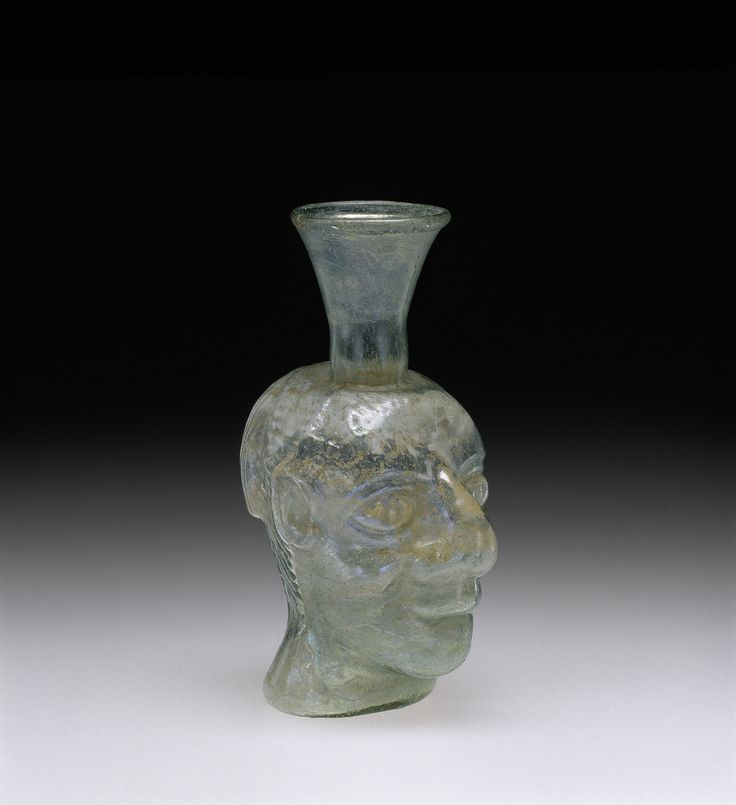 Grotesque Head Flask, Roman Empire; Rhineland; Gaul, 200-399. 55.1.93.