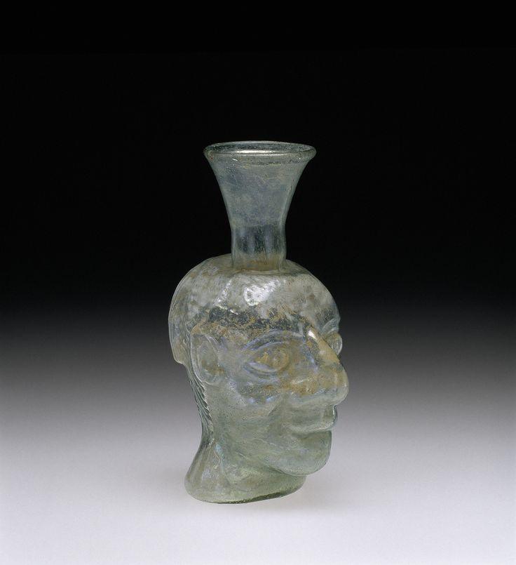 Grotesque Head Flask, Roman Empire; Rhineland; Gaul, 200-399. 55.1.93.